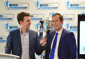 Pacemaker Press Belfast 03-08-2016:  launch event for the 2016/17 Danske Bank Football Premiership season. Michael Clarke pictured speaking to NI Sports Minister Paul Givan during the launch at National Football Stadium at Windsor Park in Belfast. Picture By: Arthur Allison.