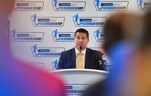 Pacemaker Press Belfast 03-08-2016:  launch event for the 2016/17 Danske Bank Football Premiership season. Gerard Lawlor Chairman of the Premiership Committee pictured speaking during the launch at National Football Stadium at Windsor Park in Belfast. Picture By: Arthur Allison.