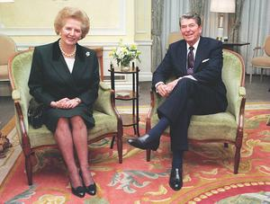 File photo dated 06/12/1990 of former Prime Minister Margaret Thatcher with former US President Ronald Reagan at Claridges, in London. Baroness Thatcher died this morning following a stroke, her spokesman Lord Bell said. PRESS ASSOCIATION Photo. Issue date: Monday April 8, 2013. See PA story DEATH Thatcher. Photo credit should read: Fiona Hanson/PA Wire