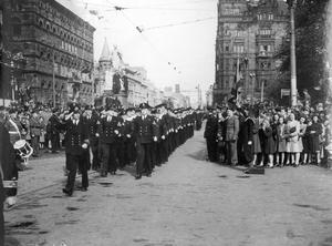 World War 2:  VE - Day.  Royal Navy marching in Victory Parade, City Hall, Belfast.  (13/05/1945)