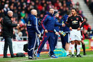 SUNDERLAND, ENGLAND - FEBRUARY 13:  Ryan Giggs Assistant Manager of Manchester United getures while Memphis Depay prepares on the touchline during the Barclays Premier League match between Sunderland and Manchester United at the Stadium of Light on February 13, 2016 in Sunderland, England.  (Photo by Clive Brunskill/Getty Images)