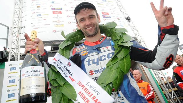 PACEMAKER, BELFAST, 17/5/2014:  William Dunlop celebrates after winning the opening Superbike race at the Vauxhall International North West 200. PICTURE BY STEPHEN DAVISON