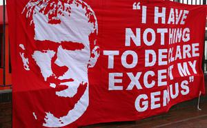 MANCHESTER, ENGLAND - MAY 12:  General View of a Paul Scholes banner prior to the Barclays Premier League match between Manchester United and Swansea City at Old Trafford on May 12, 2013 in Manchester, England.  (Photo by Alex Livesey/Getty Images)