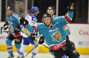21/12/13: Man of the Match, Darryl Lloyd celebrates after scoring his second goal for the Belfast Giants in the 5-1 win over the Coventry Blaze during the Elite League game at the Odyssey Arena.