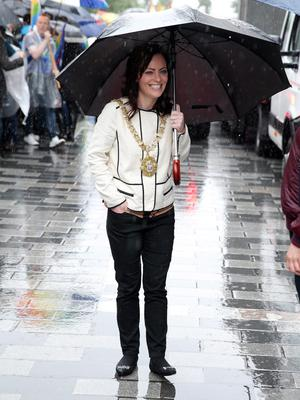 Press Eye - Belfast - Northern Ireland - 2nd August 2014 - Picture by Kelvin Boyes  / Press Eye.  Belfast Lord Mayor Nichola Mallon at the 2014 Belfast Pride parade in Belfast city centre this afternoon.  Thousands of people attended the annual Gay Pride parade in Belfast city centre.  Now in its 24th year, the Belfast parade is claimed to be the largest of its kind on the island of Ireland.  The parade will left Custom House Square and make its way through the city centre.