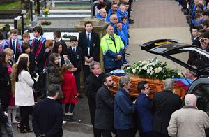 PACEMAKER BELFAST   15/02/2015 The funeral of Oisin McGrath Belcoo schoolboy has taken place in County Fermanagh. The Celebration of the life of Oisin McGrath took place in St Patrick's Church Holywell. Oisin who was 13, died in hospital on Thursday after being injured in an incident at St Michael's College, Enniskillen, on Monday afternoon. Photo Arthur Allison/Pacemaker Press