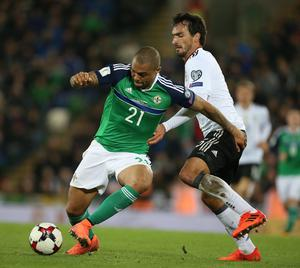 Northern Ireland Josh Magennis and Germany  Mats Hummels  during Thursday night's FIFA World Cup Russia 2018 Group C Qualifier at the National Football Stadium, Windsor Park. Picture by Brian Little/PressEye