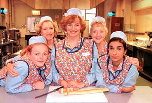 Maxine Peake as Twinkle, Anne Reid as Jean, Victoria Wood as Bren, Thelma Barlow as Dolly and Shobna Gulati as Anita from the BBC show Dinnerladies, Photo credit: BBC/PA Wire