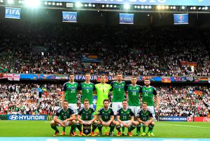 PARIS, FRANCE - JUNE 21: The Northern Ireland team pictured before the UEFA EURO 2016 Group C match between Northern Ireland and Germany at Parc des Princes on June 21, 2016 in Paris, France. (Photo by Charles McQuillan/Getty Images)