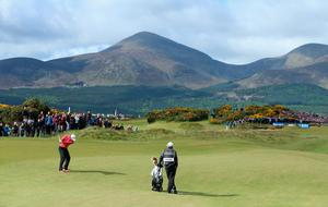 NEWCASTLE, NORTHERN IRELAND - MAY 28:  Rory McIlroy of Northern Ireland hits his 2nd shot on the 15th hole during the First Round of the Dubai Duty Free Irish Open Hosted by the Rory Foundation at Royal County Down Golf Club on May 28, 2015 in Newcastle, Northern Ireland.  (Photo by Andrew Redington/Getty Images)