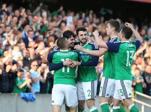 Pacemaker Belfast 27-5-16 Northern Ireland v Belarus - International Friendly Northern Ireland's Kyle Lafferty celebrates his goal during tonight's game at Windsor Park, Belfast.  Photo by David Maginnis/Pacemaker Press