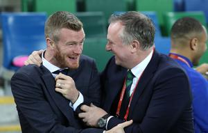 Northern Ireland manager Micheal O'Neill with Chris Brunt before Saturday night's UEFA Euro 2020 Qualifier against Netherlands at the National Stadium, Belfast. Photo by William Cherry/Presseye