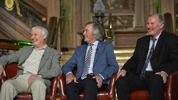 PACEMAKER BELFAST  28/05/2016 Northern Ireland manager Michael ONeill announces his squad for Euro 2016 in France at Titanic Belfast this afternoon. Pictured are Northern Ireland legends Peter McParland, Pat Genninings and Billy Hamilton. Photo Mark Marlow/Pacemaker Press