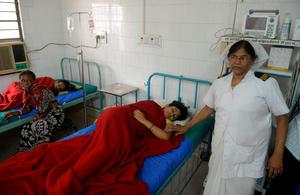 Indian patients receives treatment at Siliguri Hospital in Siliguri on May 12, 2015, following an earthquake. A new earthquake of 7.3-magnitude and several powerful aftershocks hit devastated Nepal on May 12, killing at least four people and sending terrified residents running into the streets of the traumatised capital. The quake was felt as far away as New Delhi, and officials said it caused buildings to collapse in Chinese-controlled Tibet.  AFP PHOTO / Diptendu DUTTADIPTENDU DUTTA/AFP/Getty Images