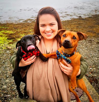 Sinead McGuckian and her Jack Russell terriers Benni (black coat) and Simba