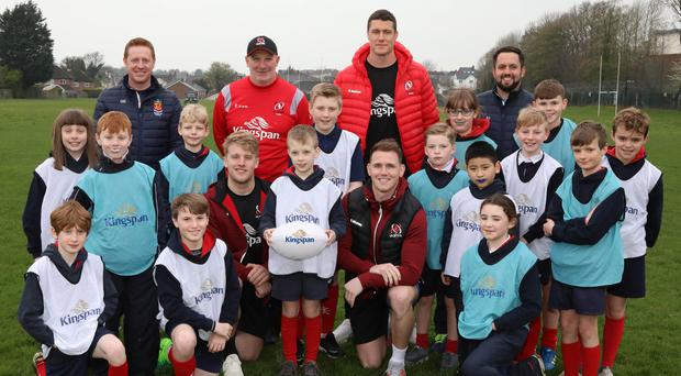 Top class: Kingspan, as official sponsors of Ulster Rugby, hosted a coaching masterclass in The Wallace High School Preparatory, after the school won a competition organised by the sponsors. Craig Gilroy, Ian Nagle, Rob Lyttle and skills coach Dan Soper were on hand to put the students through their paces