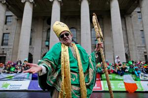 A reveller during the St Patrick's day parade through Dublin city centre on St Patrick's day. PRESS ASSOCIATION Photo. Picture date: Sunday March 17, 2013. Photo credit should read: Julien Behal/PA Wire