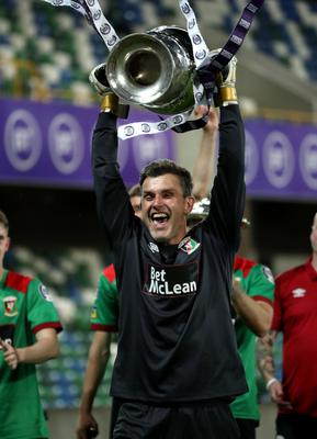 Press Eye - Belfast, Northern Ireland - 31st July 2020 - Photo by William Cherry/Presseye  Glentoran's Elliott Morris celebrate winning the Sadler's Peaky Blinder Irish Cup after defeating Ballymena United during Friday nights Final at the National Stadium at Windsor Park, Belfast.    Photo by William Cherry/Presseye