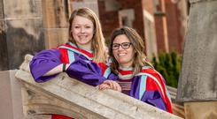 Alexandra Kapka and Sophie Long, who both graduated during the same ceremony. Alexandra graduated with a PhD in Film Studies from the School of Arts, English and Languages whilst Sophie graduated with a PhD in Politics from the School of History, Anthropology, Philosophy and Politics at Queen's.