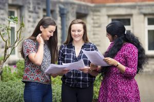 A-Level results day 2016 - Emma Connolly, Christina O'Boyle and Shusma Balaji of St Dominic's on the 18th August 2016, Belfast , Northern Ireland ( Photo by Kevin Scott / Belfast Telegraph )