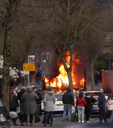A bus is hijacked and set on fire during rioting on the Shankill road this evening. Picture by Pacemaker