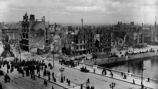 File photo dated 11/05/1916 of Sackville Street (O'Connell St) and the River Liffey at Eden Quay showing the devastation wrought during the 'Easter Rising', as a trove of rarely-seen photographs lays bare the utter carnage wreaked on Dublin during the tumultuous Easter Rising 100 years ago this weekend. PA