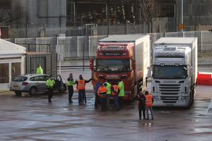Lorries at new checking facilities at Belfast Port for goods arriving from Great Britain (Liam McBurney/PA)