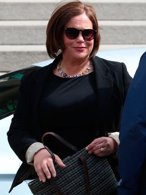 Sinn Fein leader Mary Lou McDonald arrives for the funeral service of murdered journalist Lyra McKee at St Anne's Cathedral in Belfast.
