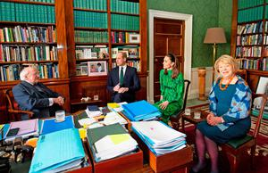 Department of Foreign Affairs and the British Embassy handout photo of the Duke and Duchess of Cambridge meet with the President of Ireland, Michael D. Higgins and his wife Sabina Coyne at Aras an Uachtarain, Dublin, during their three day visit to the Republic of Ireland. PA Photo. Picture date: Tuesday March 3, 2020. See PA story ROYAL Cambridge. Photo credit should read: Julien Behal Photography/PA Wire  NOTE TO EDITORS: This handout photo may only be used in for editorial reporting purposes for the contemporaneous illustration of events, things or the people in the image or facts mentioned in the caption. Reuse of the picture may require further permission from the copyright holder.