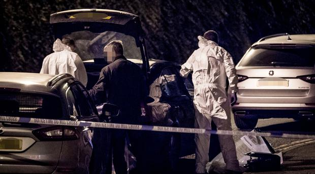 Forensics at the scene of a mortar find in the Church view area of Strabane on September 7th 2019 (Photo by Kevin Scott for Belfast Telegraph)