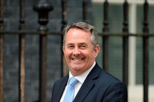 British Conservative party member of parliament Liam Fox arrives at 10 Downing Street in central London on July 13, 2016 after new British Prime Minister Theresa May took office.  Theresa May took office as Britain's second female prime minister on July 13 charged with guiding the UK out of the European Union after a deeply devisive referendum campaign ended with Britain voting to leave and David Cameron resigning.   / AFP PHOTO / OLI SCARFFOLI SCARFF/AFP/Getty Images