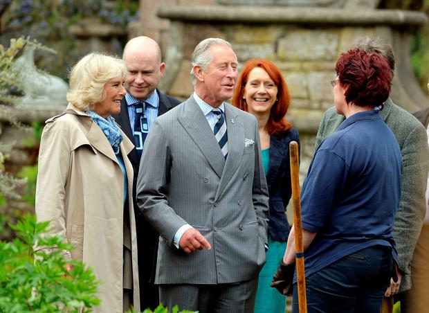 The Prince of Wales and Duchess of Cornwall tour the Gardens talking to workers at Mount Stewart House, in Co Down on the last day of their visit to Northern Ireland.