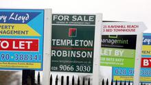 House sales in Northern Ireland...File photo dated 25/12/08 of Estate agent signs in Belfast, Northern Ireland as the proportion of first-time buyers in Northern Ireland's housing market is the largest since 2001, it was revealed today. PRESS ASSOCIATION Photo. Issue date: Tuesday September 11, 2012. With no sign of an end to the fall in average prices, the difference in the cost of buying properties in certain areas is also becoming more evident, according to a survey by the Royal Institution of Chartered Surveyors (RICS). See PA story ULSTER Housing. Photo credit should read: Paul Faith/PA Wire...A