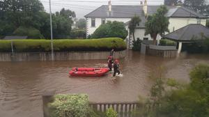 Search and Rescue teams in Newcastle Co.Down during flooding on August 25th 2020