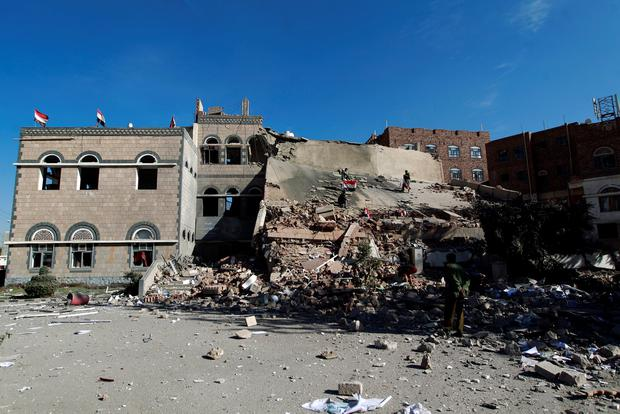 A general view shows the rubble of the building of the Chamber of Commerce and Industry which was destroyed during air strikes on the capital, Sanaa, on January 5, 2016. AFP/Getty Images