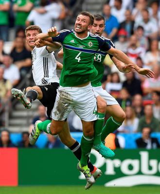 PARIS, FRANCE - JUNE 21: Gareth McAuley of Northern Ireland during the UEFA EURO 2016 Group C match between Northern Ireland and Germany at Parc des Princes on June 21, 2016 in Paris, France. (Photo by Charles McQuillan/Getty Images)