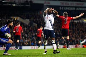 LONDON, ENGLAND - APRIL 25:  Danny Rose of Tottenham Hotspur reacts after a missed chance on goal during the Barclays Premier League match between Tottenham Hotspur and West Bromwich Albion at White Hart Lane on April 25, 2016 in London, England.  (Photo by Julian Finney/Getty Images)