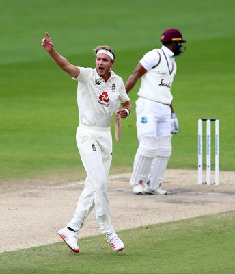 Stuart Broad appeals for the wicket of John Campbell, which was given on review (Michael Steele/NMC Pool/PA)