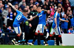 GLASGOW, SCOTLAND - APRIL 17: Barrie McKay (L) of Rangers celebrates with team-mate James Tavernier after scoring their second goalduring the William Hill Scottish Cup semi final between Rangers and Celtic at Hampden Park on April 17, 2016 in Glasgow, Scotland.  (Photo by Jeff J Mitchell/Getty Images)