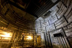 Lead guide Siddy Holloway in the old lift shaft at Down Street disused underground station in Mayfair, London, where Winston Churchill took refuge at the height of the Blitz, for the launch of a new season of Hidden London disused station tours. PRESS ASSOCIATION Photo. Picture date: Wednesday April 13, 2016. Down Street had a short life as a working station from 1907 to 1932, but became critical to winning the Second World War when it was covertly transformed into the Railway Executive Committee's bomb-proof bunker. Photo credit should read: Yui Mok/PA Wire
