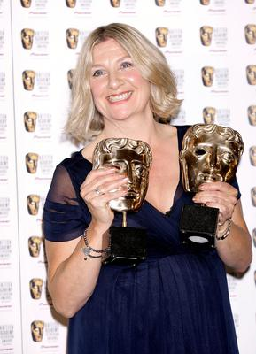 Victoria Wood with her two awards, one for Best Actress and one for Best Single Drama both received for Housewife 49 at the British Academy Television Awards, Photo credit: Yui Mok/PA Wire