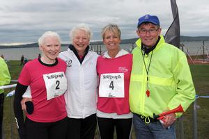 Belfast Telegraph Runher - Seapark to Crawfordsburn - 23rd May 2014 Presseye / Declan Roughan  Kelly Gallagher, Mary Peters, Judith Gilespie and race organiser Davy Seaton