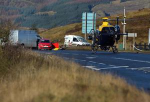 "A woman has been airlifted to hospital following a crash on the Glenshane Pass in Dungiven, County Londonderry. A spokesperson for the ambulance service said the woman's injuries were ""very serious"". Photo Colm Lenaghan/Pacemaker Press"