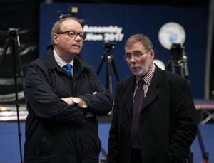 DUP candidates William Humphrey and Nelson McCausland at the Titanic Exhibition Centre, Belfast for the Northern Ireland Election count. PRESS ASSOCIATION Photo. Picture date: Friday March 3, 2017. See PA story ULSTER Election. Photo credit should read: Liam McBurney/PA Wire