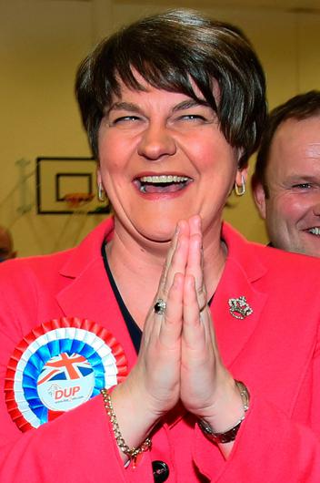Democratic Unionist Party (DUP) Leader Arlene Foster celebrates as she is elected to the Northern Ireland Assembly at the count centre in Omagh, Co Tyrone, Northern Ireland, on March 3, 2017.  Northern Ireland has voted in snap elections to resolve a political crisis fuelled by bad blood and Brexit, which is testing the delicate peace in the British province. / AFP PHOTO / Paul FAITHPAUL FAITH/AFP/Getty Images