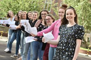 Pacemaker Press 20-08-2020:  Students celebrated GCSE success at St Dominic's Grammar School Belfast .There has been a significant rise in the number of top GCSE grades in Northern Ireland. Grades A*-A were awarded to 37.1% of entries, up from just under a third of entries in 2019. Picture By: Arthur Allison/ Pacemaker Press.