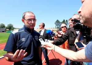 Republic of Ireland manager Martin O'Neill speaks with the media after a training session at the Stade de Montbauron, Versailles. Pic: Chris Radburn/PA Wire.