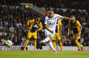 Andros Townsend of Spurs scores their third goal from the penalty spot