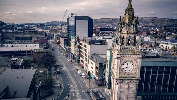 Aerial images showing Belfast City Centre on day three of lockdown amid the spread of Coronaviru on March 26th 2020 (Photo by Kevin Scott for Belfast Telegraph)