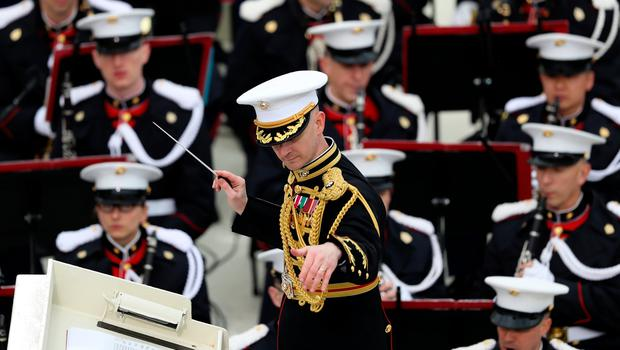 WASHINGTON, DC - JANUARY 20:  The Marine band plays on the West Front of the U.S. Capitol on January 20, 2017 in Washington, DC. In today's inauguration ceremony Donald J. Trump becomes the 45th president of the United States.  (Photo by Joe Raedle/Getty Images)
